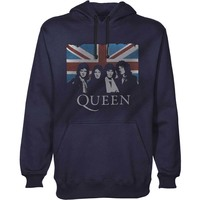 Queen Vintage Union Jack Men's Pullover Navy Hoodie (Small) - Cover