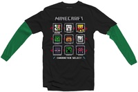 Minecraft - Character Select Boys Long Sleeve - Black/Green (5-6 Years) (XX-Small) - Cover