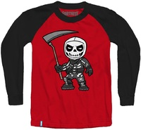 Fortnite - Chibi Skull Trooper - Teen Long Sleeve - Red/Black (11-12 Years) (Medium) - Cover