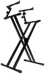 On-Stage KS7292 2 Tier Double-X Keyboard Stand with Ergo Lok (Black)
