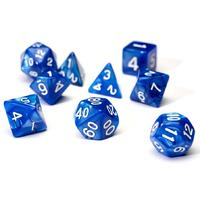 Sirius Dice - Set of 7 Polyhedral Dice - Pearl Blue & White