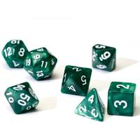 Sirius Dice - Set of 7 Polyhedral Dice - Pearl Green & White