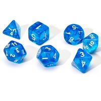 Sirius Dice - Set of 7 Polyhedral Dice - Translucent Blue & White