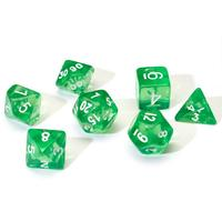 Sirius Dice - Set of 7 Polyhedral Dice - Translucent Green & White