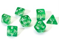 Sirius Dice - Set of 7 Polyhedral Dice - Translucent Green & White - Cover