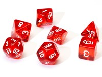 Sirius Dice - Set of 7 Polyhedral Dice - Translucent Red & White - Cover
