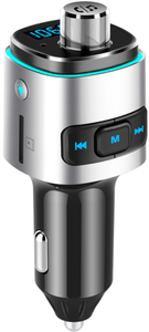 Gizzu - Bluetooth Handsfree Kit with FM Transmitter LED Interface 1 x Micro SD (512MB Max) - Blue/Black - Cover