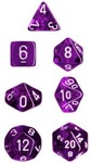 Chessex - Set of 7 Polyhedral Dice - Translucent Purple & White