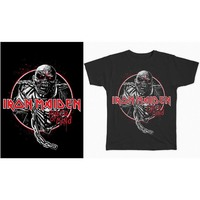 Iron Maiden Piece of Mind Circle Men's Black T-Shirt (Small) - Cover