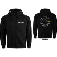 Pink Floyd Circle Logo Backprint Men's Black Zip-up Hoodie (X-Large) - Cover