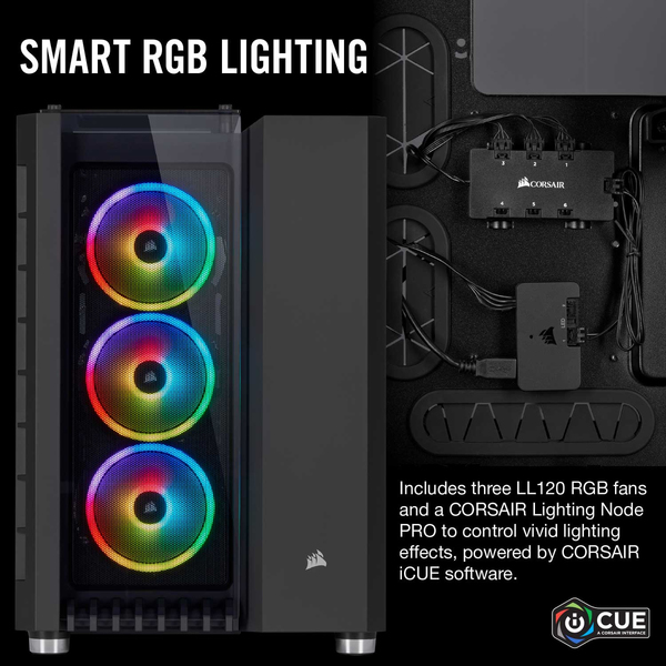 Corsair Crystal Series 680X RGB High Airflow Tempered Glass ATX Smart  Chassis - Black