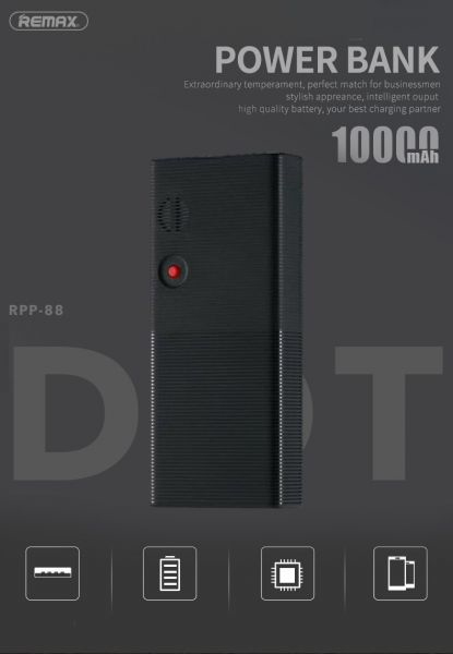 Remax Dot Series 10000mAH Power Bank - Black