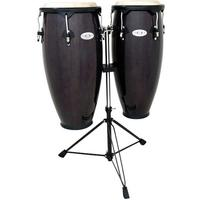Toca Synergy Series Wood Conga Set with Stand - Transparent Black (10 Inch Quinto and 11 Inch Conga)