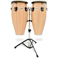 Toca Player's Series Wood Conga Set with Double Stand - Natural (10 Inch Quinto and 11 Inch Conga)
