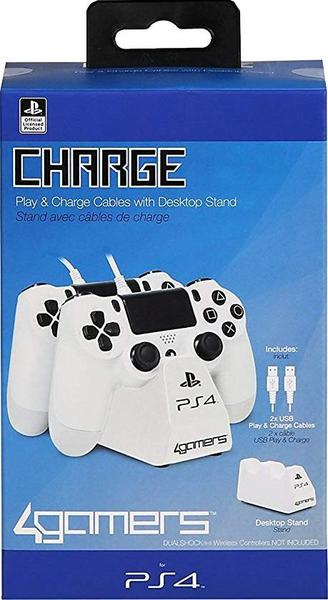 4Gamers - Twin Charge Play and Charge Cables - White (PS4)