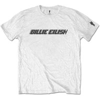 Billie Eilish - Black Racer Logo Mens White T-Shirt (X-Large) - Cover