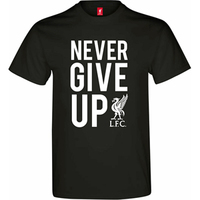 Liverpool Never Give up Men's Black T-Shirt (X-Large) - Cover