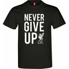Liverpool Never Give up Men's Black T-Shirt (X-Large)