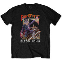 Elton John Captain Fantastic Men's Black T-Shirt (Small) - Cover