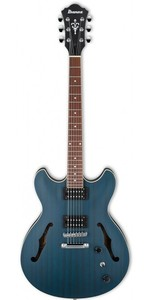 Ibanez AS53-TBF AS Series AS Artcore Double Cut-Away Hollow Body Electric Guitar (Transparent Blue Flat) - Cover