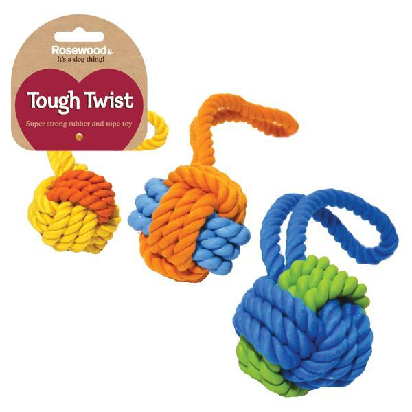 Rosewood - Tough Twist Rubber and Rope Ball Tug (Medium)
