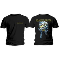 Iron Maiden Powerslave Head & Logo Men's Black T-Shirt (Medium) - Cover
