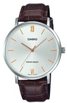 Casio Enticer Analogue Mens Wrist Watch - Silver and Brown