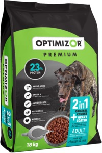 Optimizor - Premium 2in1 Dry Dog Food - Gravy Coated Chicken & Rice (18kg) - Cover