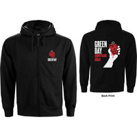 Green Day American Idiot Men's Black Zip-Up Hoodie (Medium) - Cover