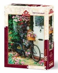 Art Puzzle - Bicycle and Flowers Puzzle (500 Pieces)