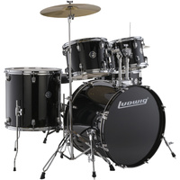 Ludwig Accent Drive Series 5pc Acoustic Drum Kit - Black (22 Inch Bass Drum)