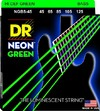DR NGB5-45 Neon Green 45-125 Medium Nickel Plated Steel 5-Sting Green Coated Bass Guitar Strings