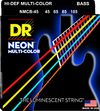 DR NMCB-45 Neon Multi-Color 45-105 Medium Nickel Plated Steel Multi-Color Coated Bass Guitar Strings