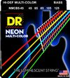 DR NMCB5-45 Neon Multi-Color 45-125 Medium Nickel Plated Steel 5-String Multi-Color Coated Bass Guitar Strings