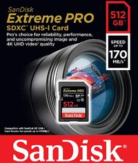 SanDisk - Extreme PRO 512 GB SDXC Memory Card, Up to 170 MB/s, Class 10, U3, V30 - Cover