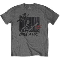 Bob Marley - Catch a Fire World Tour Men's Black T-Shirt (Large) - Cover