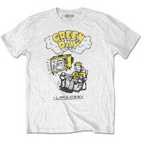 Green Day Longview Doodle Men's White T-Shirt (Large) - Cover
