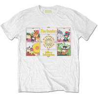 The Beatles - Yellow Submarine Sgt Pepper Band Men's T-Shirt - White (Large) - Cover