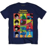 The Beatles - Yellow Submarine Sub Characters Men's T-Shirt - Navy (Small) - Cover
