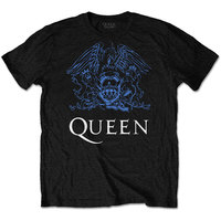 Queen Blue Crest Men's Black T-Shirt (Small) - Cover