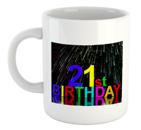 Fireworks 21St Birthday  - White Ceramic Mug - Cover