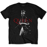 Queen Freddie Crown Men's Black T-Shirt (Small) - Cover