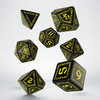 Q-Workshop - Set of 7 Polyhedral Dice - Runic Black & Yellow