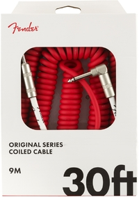 Fender Original Series 9m 1/4 Inch Jack to 1/4 Inch Angled Jack Coil Instrument Cable (Fiesta Red)