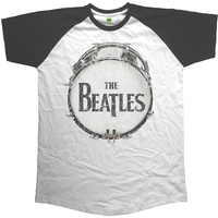 The Beatles - Vintage Original Drum Men's Short Sleeve Raglan - White/Black (Small) - Cover