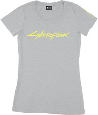 Cyberpunk 2077 Logo Womens Tee-Grey Melange T-Shirt (X-Large) - Cover