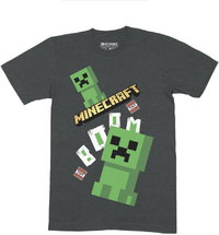 Minecraft - Double Creeper Boom - Tee - Charcoal Melang T-Shirt (Ages 5/6) - Cover