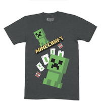 Minecraft - Double Creeper Boom - Tee - Charcoal Melang T-Shirt (Ages 9/10)