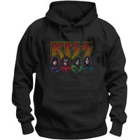 Kiss - Logo, Faces & Icons Men's Hoodie - Black (Small) - Cover