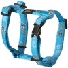 Rogz - Fancy Dress Small 11mm Jellybean Dog H-Harness (Turquoise Paw Design)